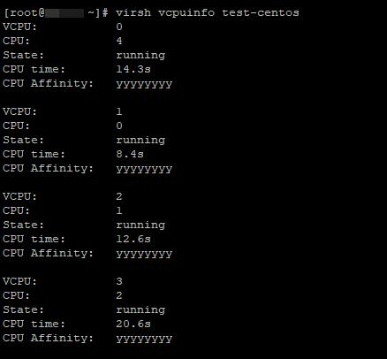 virsh vcpuinfo информация о процессорах ВМ