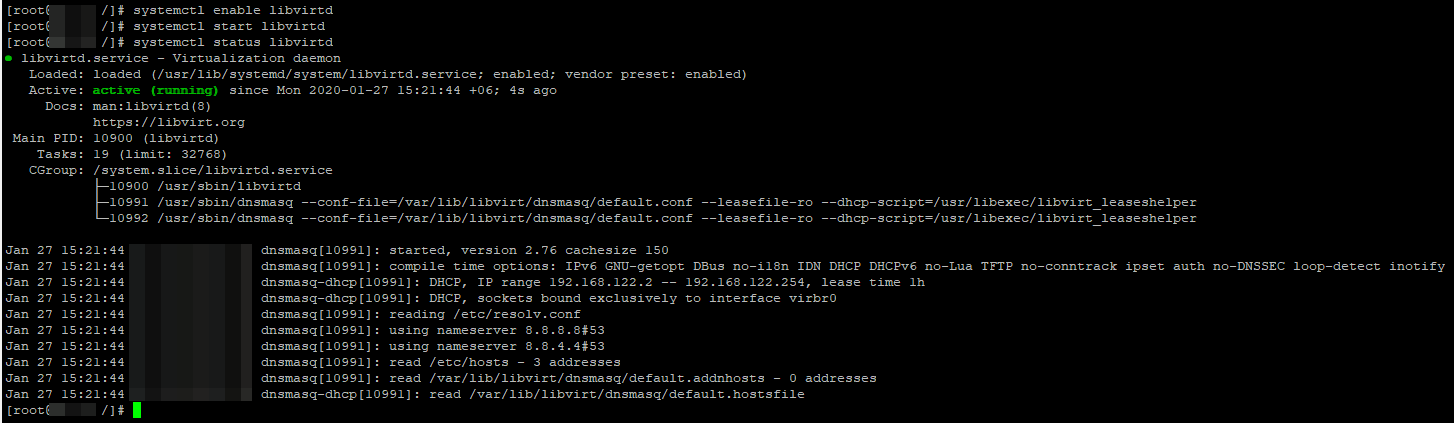 включить libvirtd в centos linux