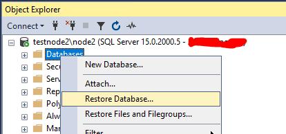 восстановление базы данных в SQL server