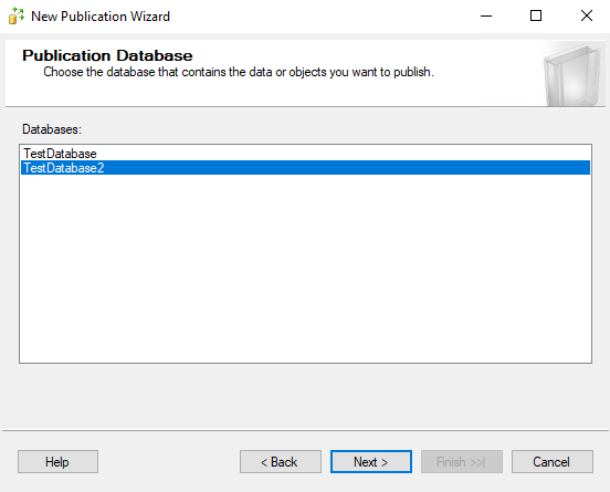 выберите базу данных для репликации