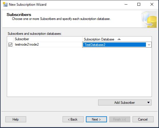 выбор базы даннх, в которую нужно реплицировать данные sql server