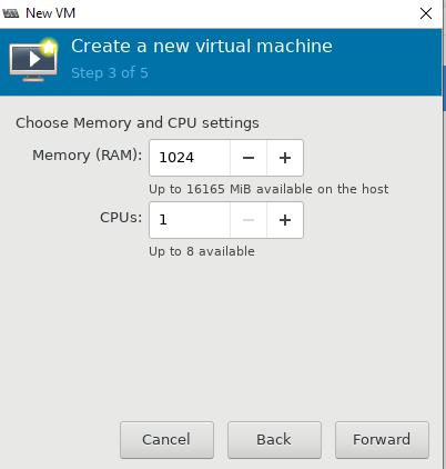 задать лимиты памяти и vCPU для виртуальной машины KVM