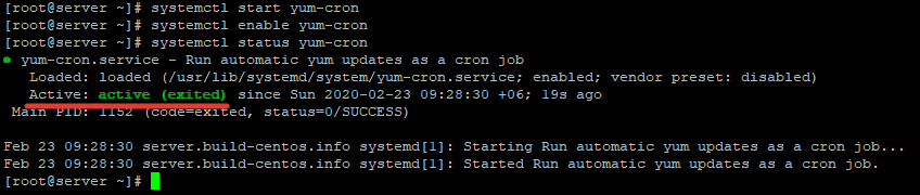 запуск службы автообновления yum-cron