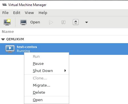 запустить / выключить виртуальную машину KVM