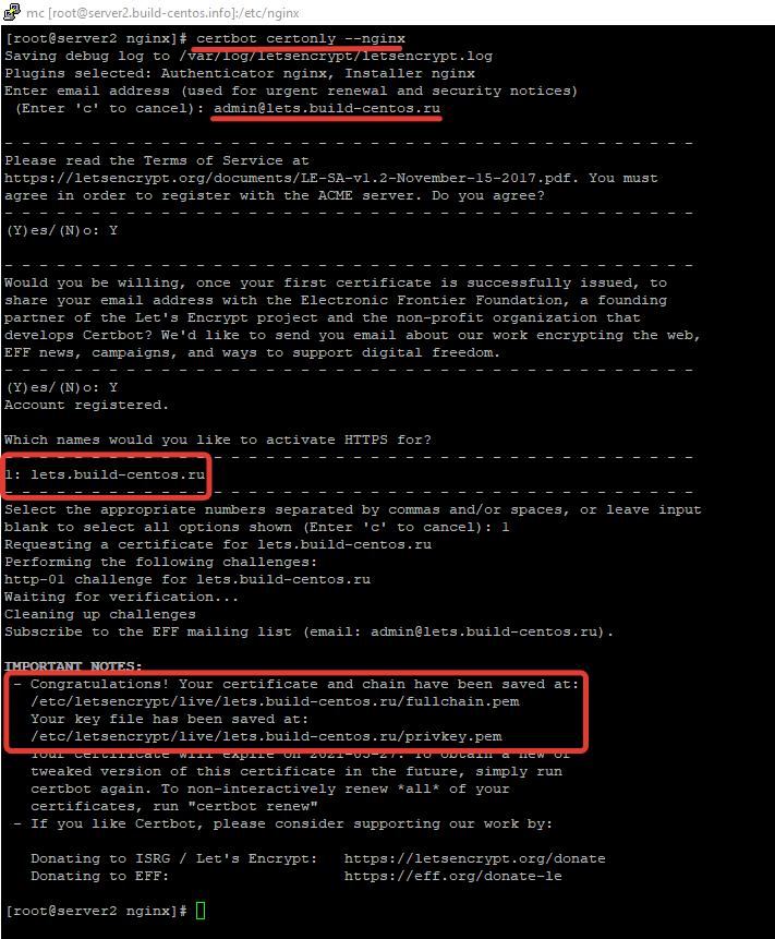 генерация сертификата let's encrypt с помощью certbot для nginx в linux