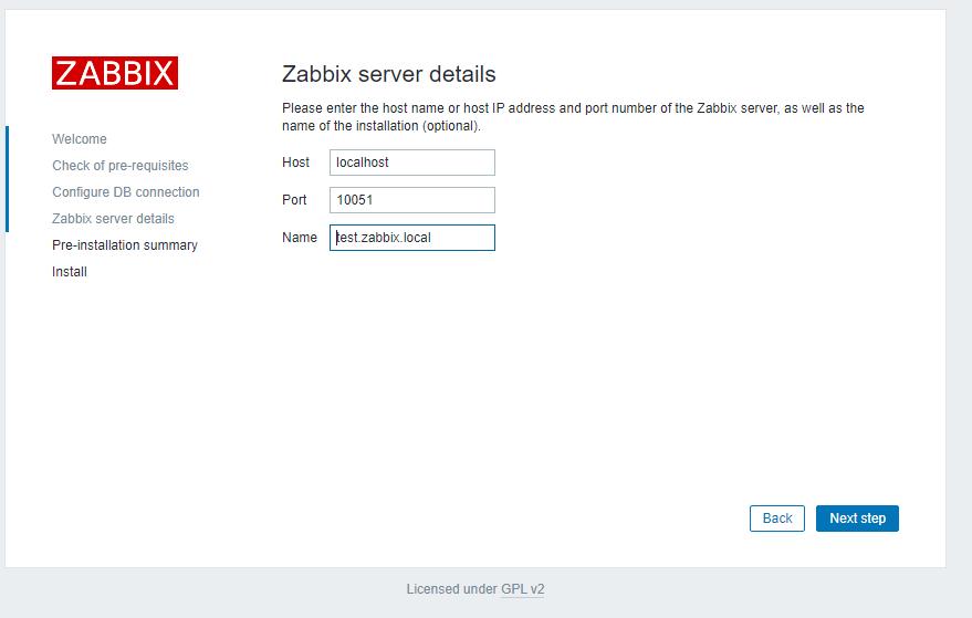 имя и порты zabbix сервера