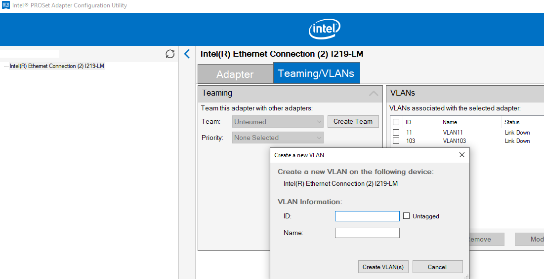 Intel PROSet Adapter Configuration Utility