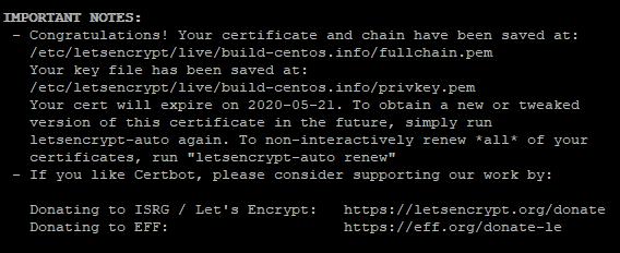 лог выпуска сертфиката letsencrypt