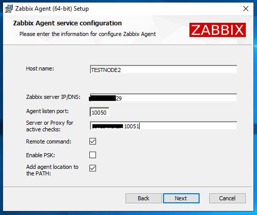 настройка параметров zabbix сервера при установке агента в windows