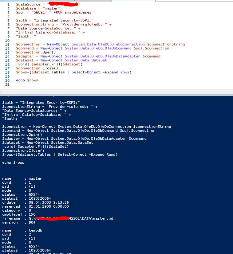 OleDb запросы к mssql server из powershell