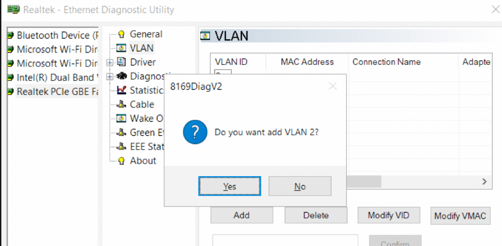 Realtek Ethernet Diagnostic Utility настройка vlan