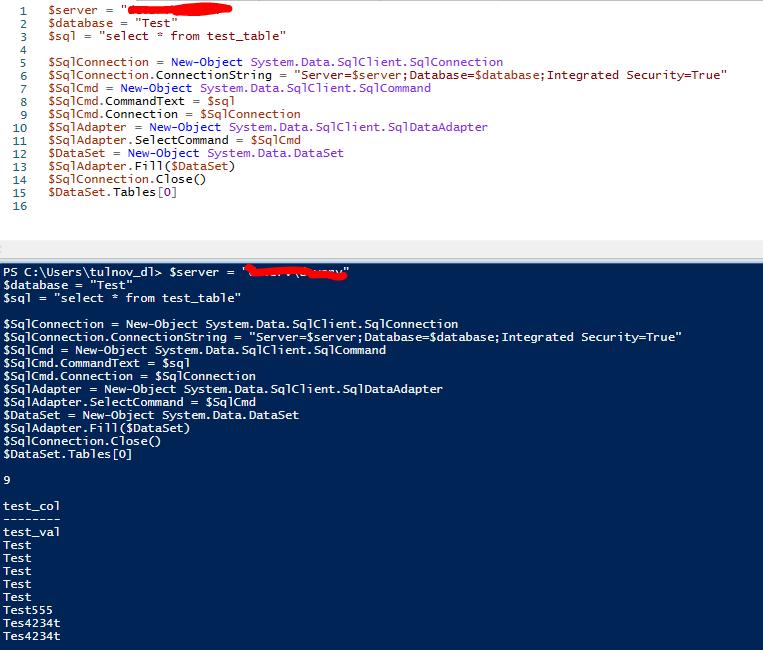 select запрос из powershell к базе данных Microsoft SQL Server
