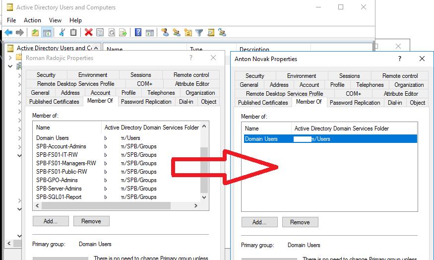 скопировать группы active directory другого пользователя