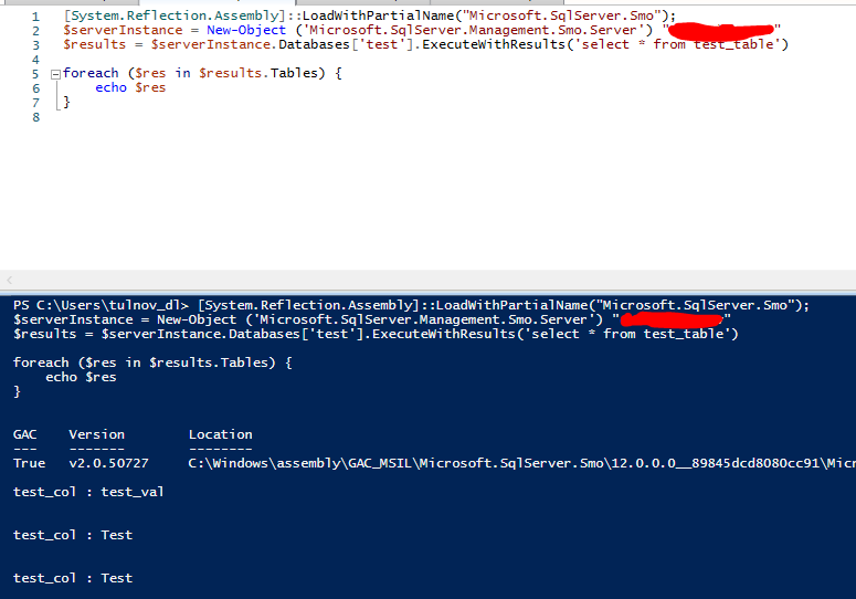 sql запрос powershell через SQL Server Management Studio
