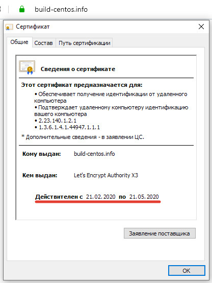 tls сертфикат lets encrypt для сайта на nginx