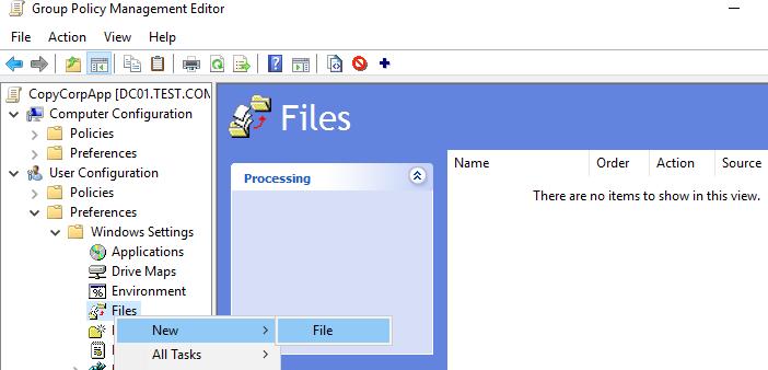 User Configuration –> Preferences -> Windows Settings -> Files - политика копирования файлов