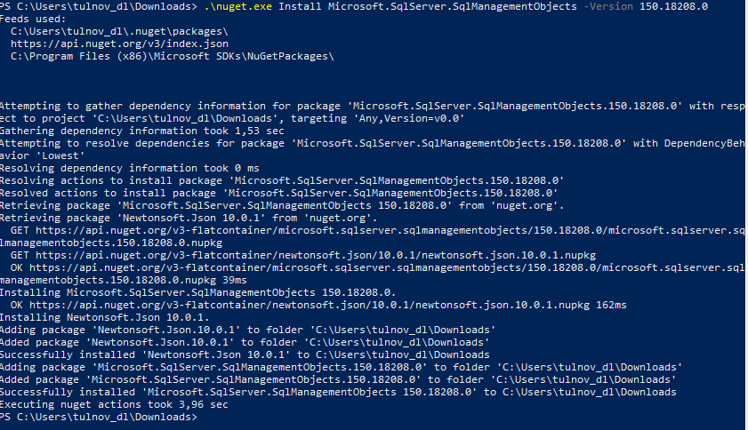 установка модуля SqlManagementObjects для powershell