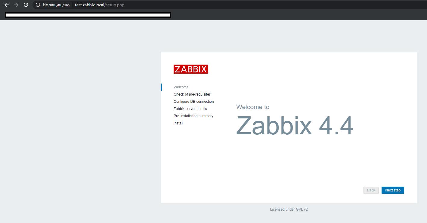 zabbix веб installer