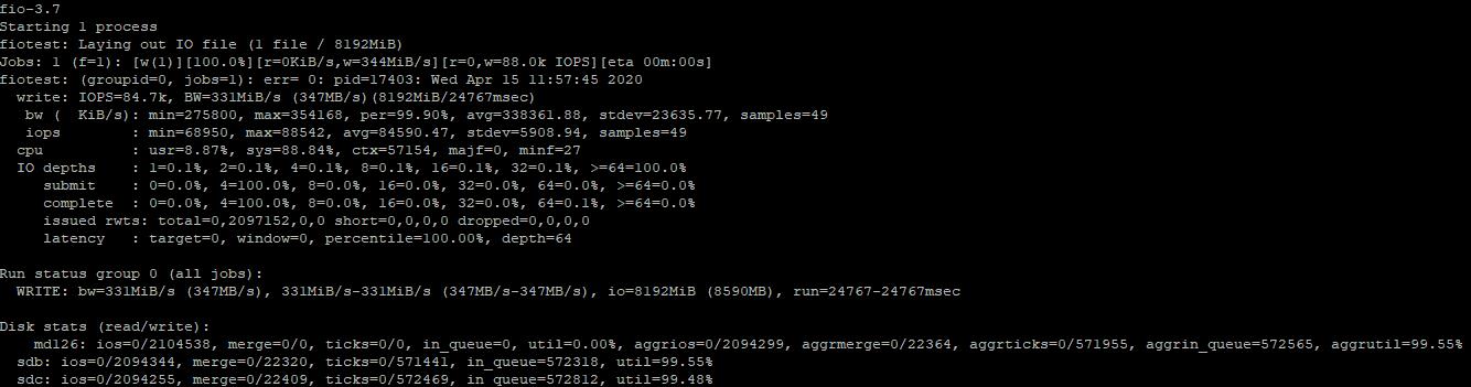 fio тестування iops диска на random запис в linux