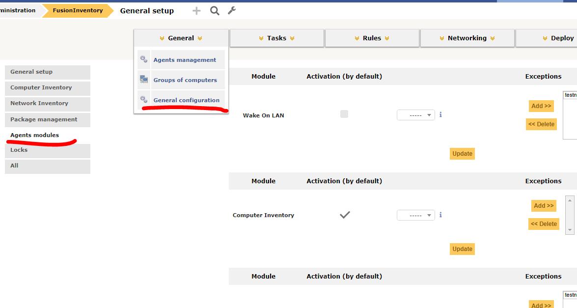 перегляд параметрів сбору даних з агентів в FusionInventory