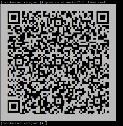 qrencode - сгенерировать qr код для подключения в wireguard