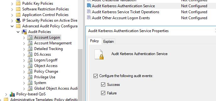 включить политику аудита Audit Kerberos Authentication Service