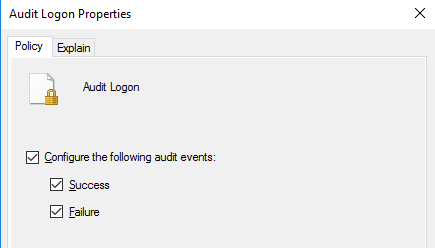 включить политки аудита входа в домен Audit Logon