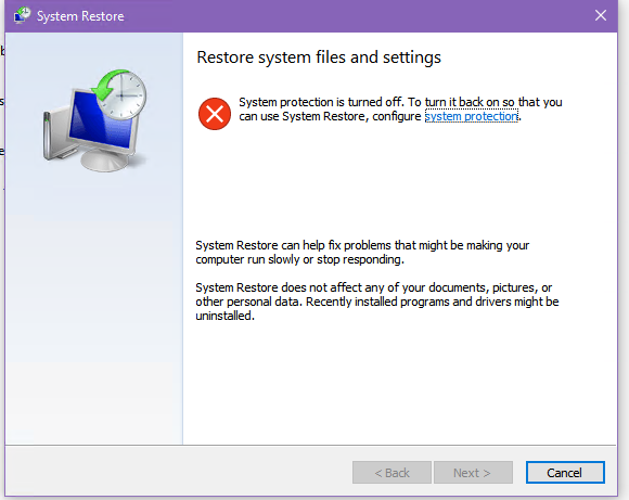 восстановление системы отключено в windows 10