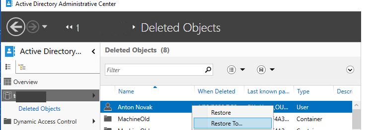 восстановление удаленного пользователя в консоли Active Directory Administrative Center