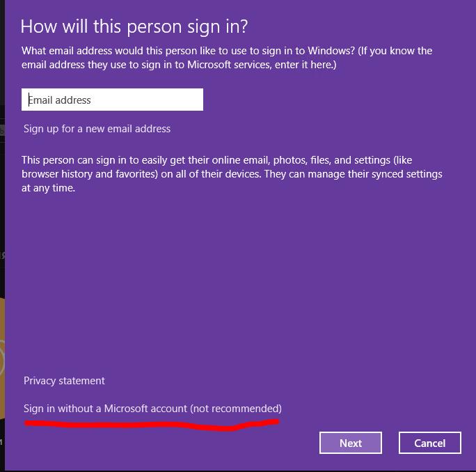Windows 10 - создать локального пользователя Sign in without a Microsoft account
