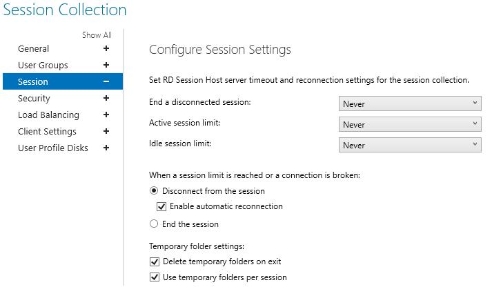 настройка таймаутов сесий и параметров переподключения на rd session host