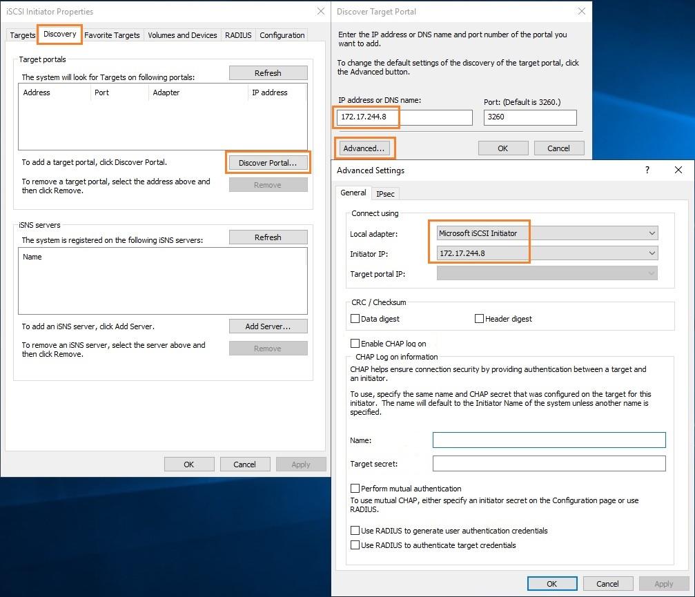 подключение iscsi диска через графический интерфейс