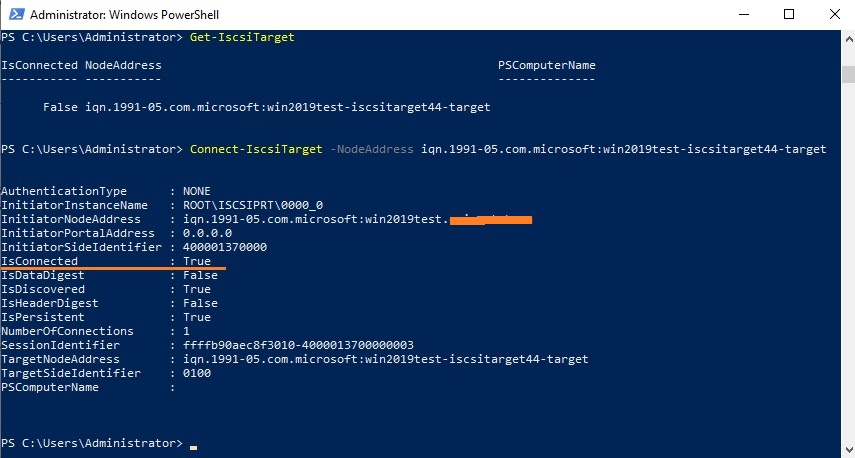 powershell подключить iscsi диск Connect-IscsiTarget