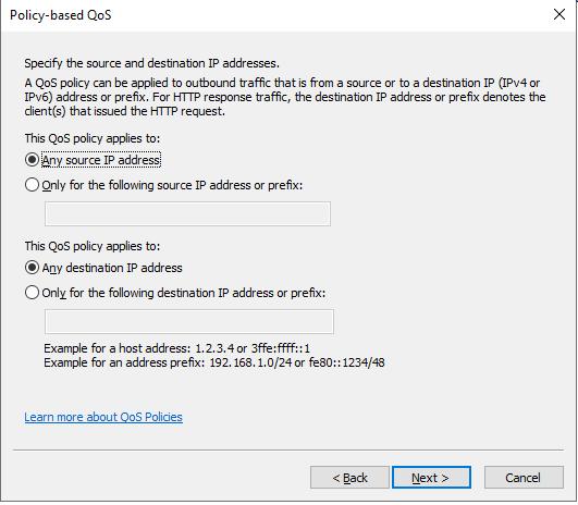 qos выбрать ip адреса получателя и источника