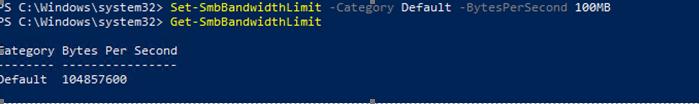 Set-SmbBandwidthLimit ограничение скорости для файлового трафика