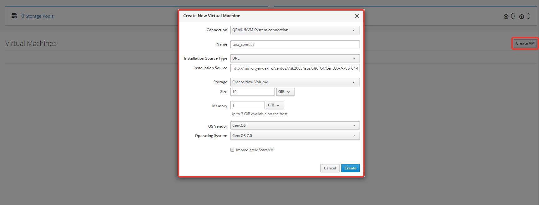 создать новую виртуальную машину KVM через cockpit