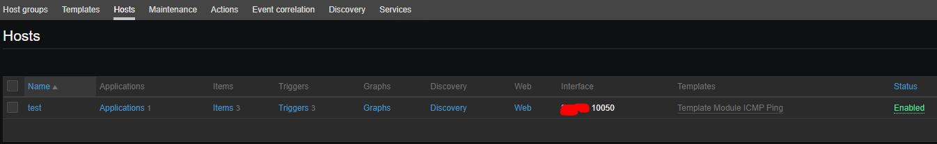 список підключених до вузла zabbix шаблонів