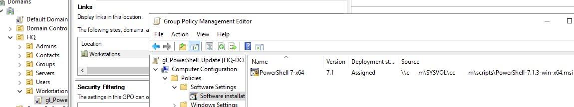 обновление powershell в домене через gpo