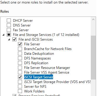 установка роли iSCSI Target Server