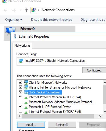 включить Qos Packet Scheduler для сетевой карты windows