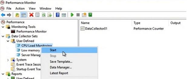 запустить сбор данных в perfomance monitor