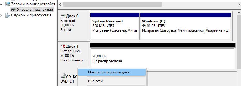 инициализация нового диска
