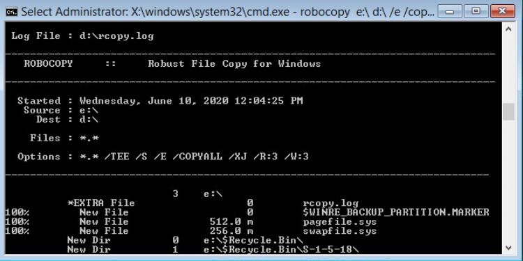 robocopy перенос установленой windows 10 на новый диск