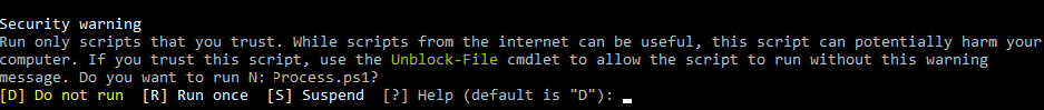 Run only scripts that you trust. While scripts from the internet can be useful, this script can potentially harm your computer. If you trust this script, use the Unblock-File cmdlet to allow the script to run without this warning message