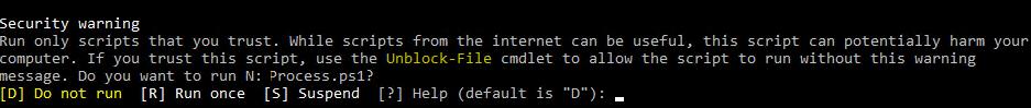 Запускайте лише ті сценарії, яким ви довіряєте.  Хоча сценарії з Інтернету можуть бути корисними, цей сценарій може потенційно зашкодити вашому комп'ютеру.  Якщо ви довіряєте цьому сценарію, використовуйте командлет Unblock-File, щоб дозволити сценарію працювати без цього попереджувального повідомлення