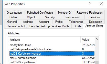 атрибут msDS-KeyVersionNumbe