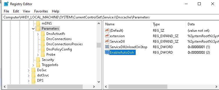 EnableAutoDoh параметр реестра для включения DNS-over-HTTPS в windows 10