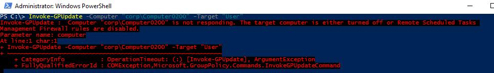 Invoke-GPUpdate - командлет powershell для обновления gpo