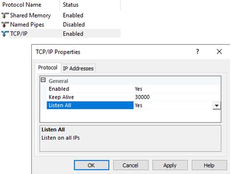 настройки протоколу tcpip для sql server