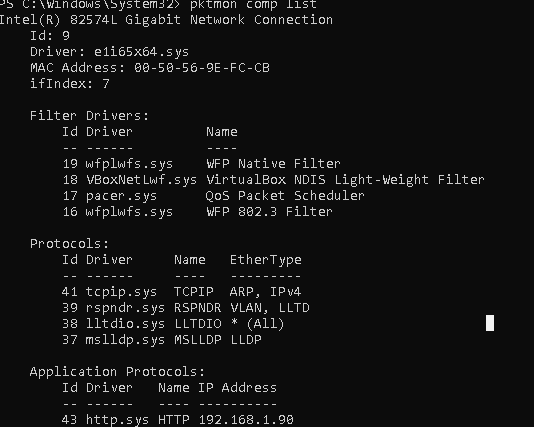 pktmon comp list - список сетевых интерфейсов, загруженных драйверов, протоколов и фильтров стека TCP-IP в Windows